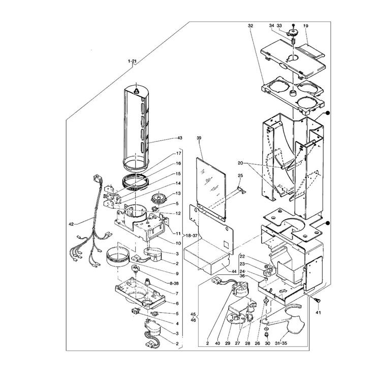 Necta Zanussi - Brio 250 30 / Dispensador de Copos